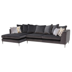 Conza Large Left Hand Facing Pillow Back Chaise Sofa, Plush Charcoal
