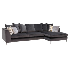 Conza Large Right Hand Facing Pillow Back Chaise Sofa, Plush Charcoal