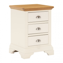 Carrington 3 Drawer Nightstand, Ivory and Oak