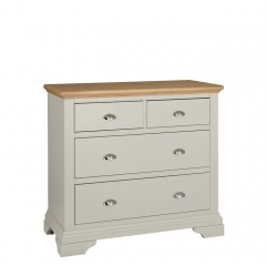 Carrington 2 Over 2 Drawer Chest, Soft Grey and Oak