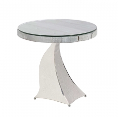 Caspian Promesse Reclaimed Wood Round Side Table