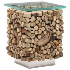 Caspian Solace Natural Driftwood and Glass Sidetable