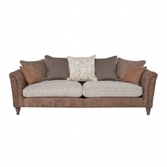 Darwin Large Pillow Back Sofa, Leather and Fabric Mix