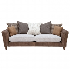 Darwin Extra Large Pillow Back Sofa, Leather and Fabric Mix
