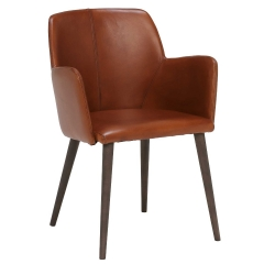 Edgar Dining Chair, Light Brown Leather