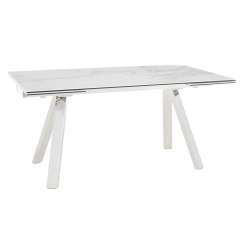 Ginostra Extending Dining Table, White Marble