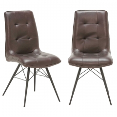 Pair of Hix Upholstered Dining Chairs, Brown