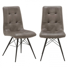 Pair of Hix Upholstered Dining Chairs, Grey and Black