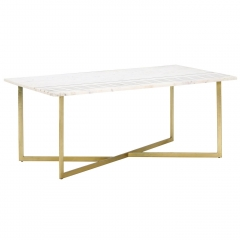 Lillian Coffee Table, White Marble With Brass Leg
