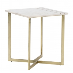 Lillian Side Table, White Marble With Brass Leg