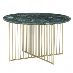 Lalit Coffee Table, Green Marble With Brass Leg