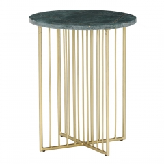 Lalit Side Table, Green Marble With Brass Leg