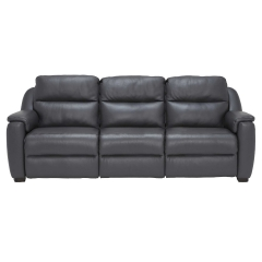 Strauss Grey Leather Large Recliner Sofa