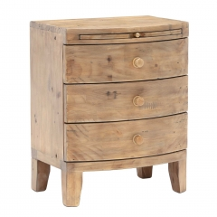 Lewes Reclaimed Wood 3 Drawer Wide Bedside, Wheat