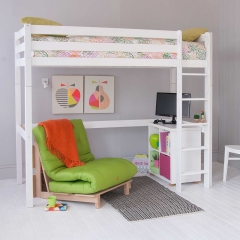 Buddy Childrens Beech Highsleeper Loft Bed With Storage Bookcase and Futon Chair Bed