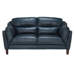 Luca Leather Love Seat, Indiana Teal