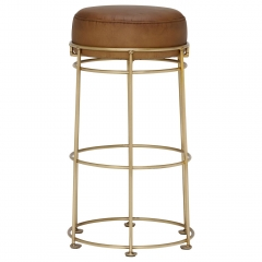 Nola Counter Stool, Light Olive and Brass