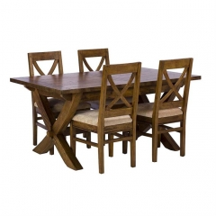 New Frontier Mango Wood X Leg Extending Dining Table and 4 Chairs
