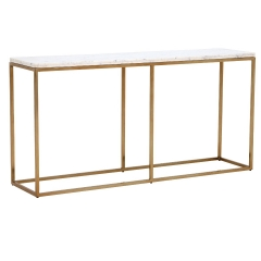 Nola Large Console Table, White Marble