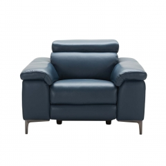 Paolo Leather Recliner Chair, Melbourne Navy Blue M5661