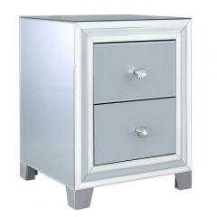 Quartz 2 Drawer Bedside Cabinet, Grey Glass and Mirror