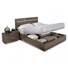 Lutyen Storage Bed Frame, Grey and Taupe