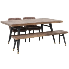 Modi Reclaimed Wood Dining Table, Bench and 2 Rivington Chairs
