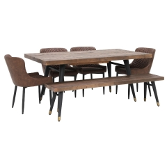 Modi Reclaimed Wood Extending Dining Table, Bench and 4 Rivington Chairs