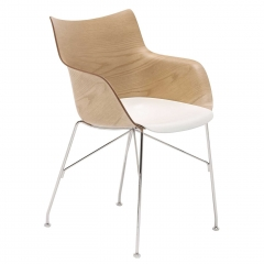 Kartell Smartwood Dining Chair with Arms, Light Wood with White seat