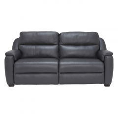 Strauss Grey Leather Recliner Sofa