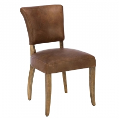 Timothy Oulton Mimi Destroyed Raw Leather Dining Chair, Brown