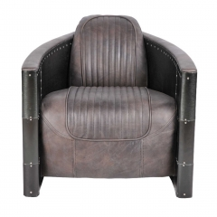 Timothy Oulton Aviator Tomcat Armchair, Destroyed Black and Black Spitfire
