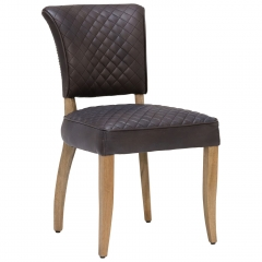 Timothy Oulton Mimi Destroyed Leather Quilted Dining Chair, Black
