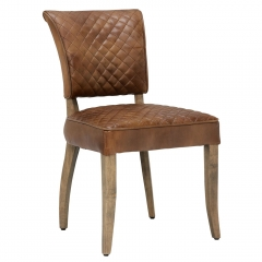 Timothy Oulton Mimi Destroyed Leather Quilted Dining Chair, Raw