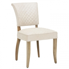 Timothy Oulton Mimi Quilted Leather Dining Chair, Vintage Bianco