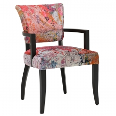 Timothy Oulton Mimi Velvet Faded and Degraded Dining Chair with Arms, Peeling Ceiling