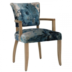 Timothy Oulton Mimi Dining Chair with Arms, Faded and Degraded Melting Paisley
