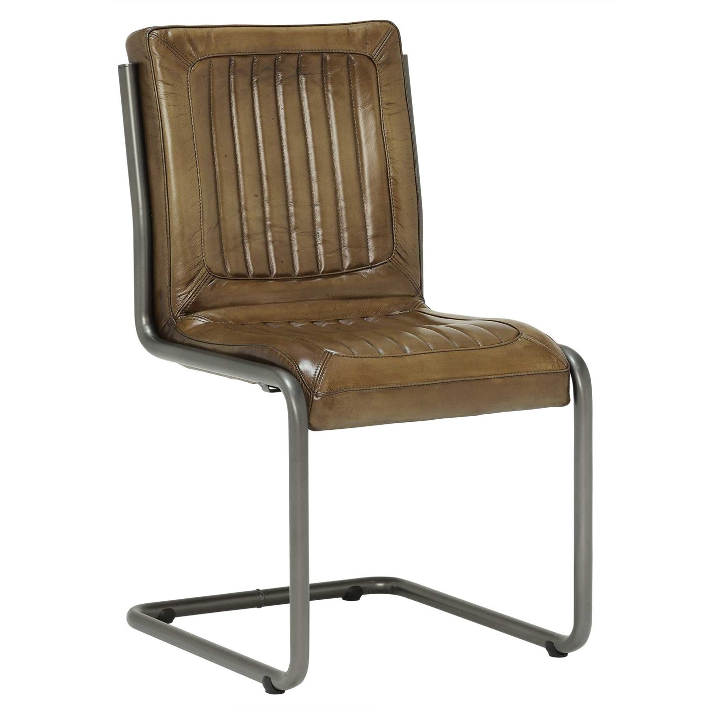 Jensen Buffalo Leather Dining Chair, OIive
