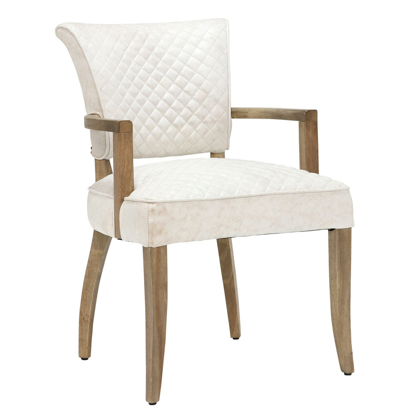 Timothy Oulton Mimi Quilted Leather Dining Chair with Arms, Vintage Bianco