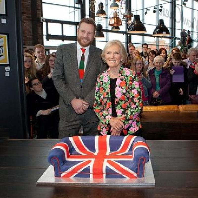 Mary Berry cuts the cake to open our iconic new Teesside store